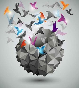 Three-dimensional paper cranes background