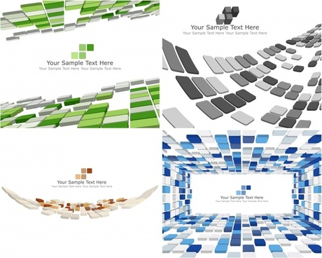 decorative background templates modern 3d squares motion decor