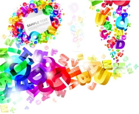 threedimensional vector colorful letters