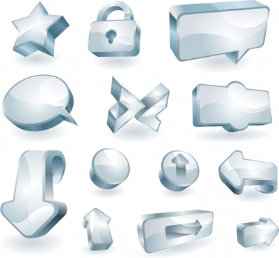 sign templates collection modern 3d shiny grey shapes