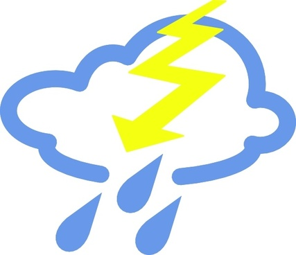 Thunder Storms Weather Symbol clip art