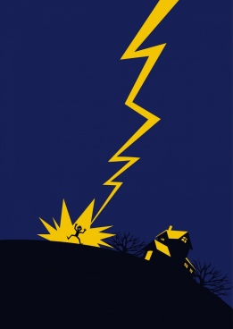 thunderstruck warning background yellow lightning icon dark design