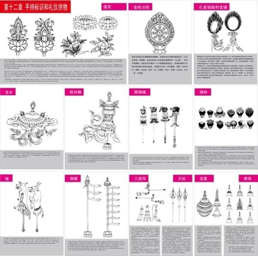 tibetan buddhist symbols and objects figure of twelve handheld objects for identification and etiquette vector