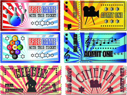 tickets to the movie theater design elements vector