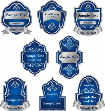 label templates blue shield ribbon decor elegant symmetry