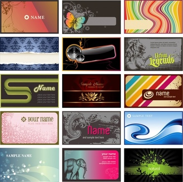 name card templates colorful modern classical decor