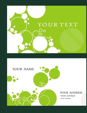 name card templates green white flat circles decor