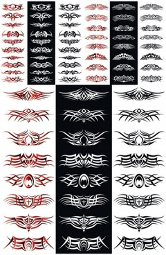 classical tattoo clip arts collection abstract symmetric design