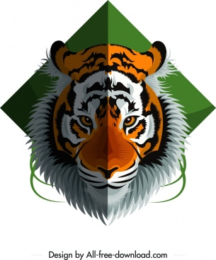 tiger animal icon colorful head design
