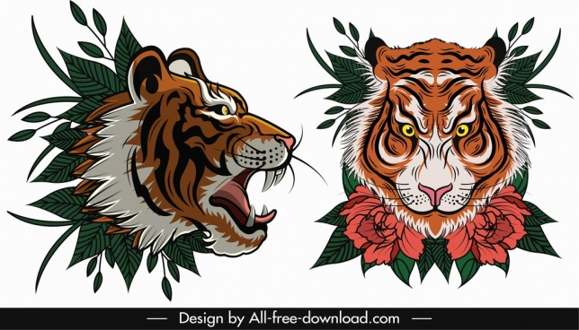 tiger face templates violent sketch flora leaf decor