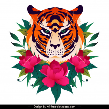 tiger flora painting colorful classical sketch