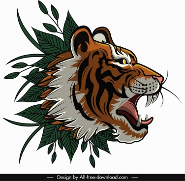 tiger head icon classical design leaves decor