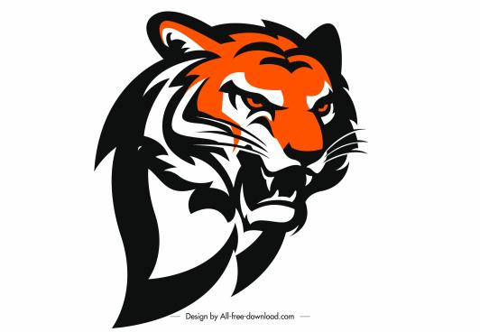 tiger head icon flat handdrawn sketch