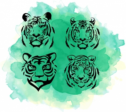 tiger head icons collection watercolor grunge handdrawn design