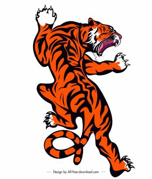 tiger icon aggressive gesture sketch handdrawn design