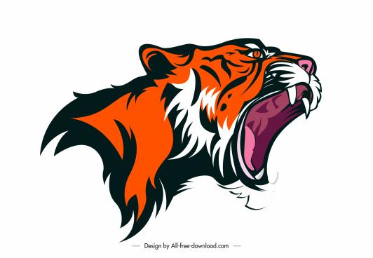 tiger icon aggressive head sketch handdrawn design