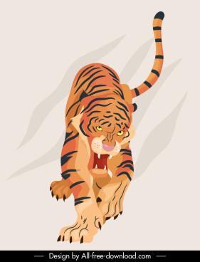 tiger icon aggressive sketch handdrawn design