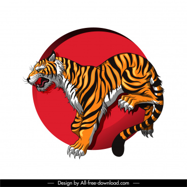 tiger icon colorful classic handdrawn sketch