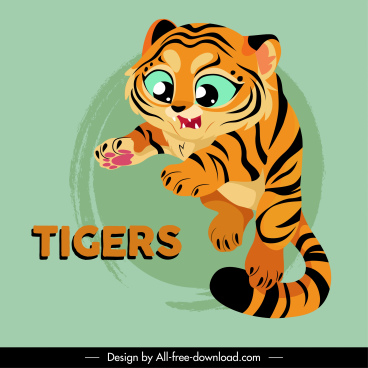 tiger icon cute cartoon sketch