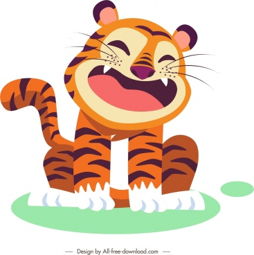 tiger icon funny cartoon character sketch