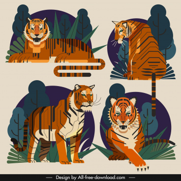 tiger icons classical colorful design