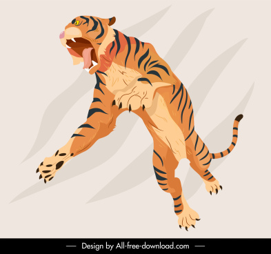 tiger icons dynamic hunting sketch handdrawn cartoon