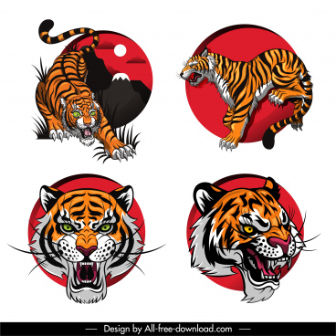 tiger icons fierce emotion sketch colorful design