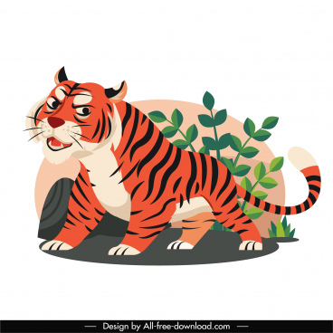 tiger painting colorful cartoon sketch