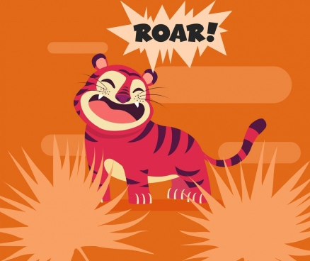 tiger painting cute funny cartoon character retro design