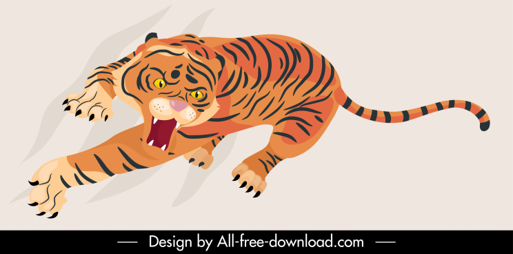 tiger painting dynamic aggressive sketch classical handdrawn