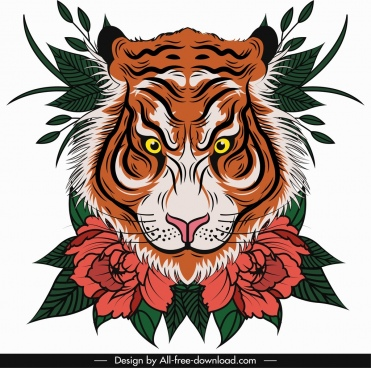 tiger painting face floral leaf decor classical design