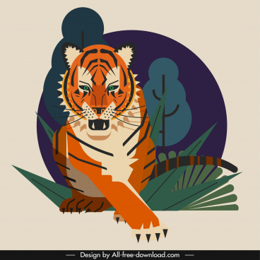 tiger painting hunting sketch colored classical design