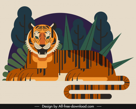 tiger painting lying sketch classical flat design