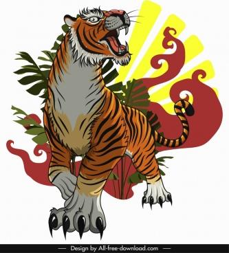 tiger painting violent emotion sketch colored classical design