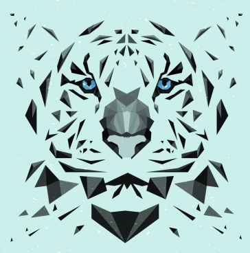 tiger portrait drawing low poly design