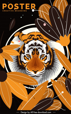 tiger preservation poster classic colored petal decor