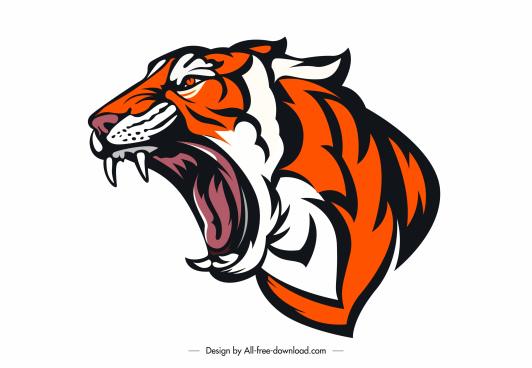tiger tattoo icon handdrawn aggressive face sketch