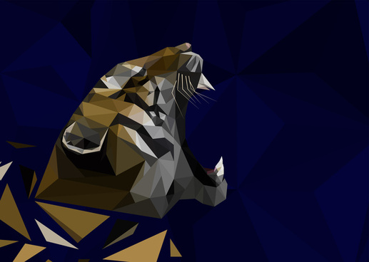 tiger vector illustration with low poly design
