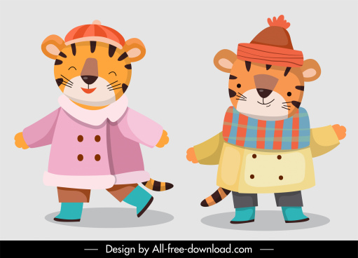 tigers characters icons cute stylized cartoon sketch