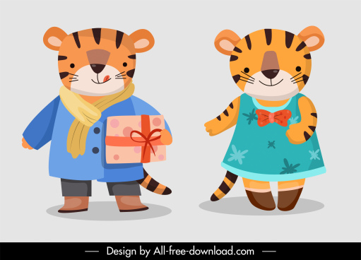 tigers characters icons stylized cartoon sketch