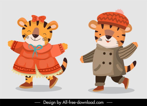 tigers icons cute sketch stylized cartoon characters