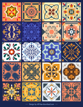 tile design elements colorful symmetric vintage floral sketch