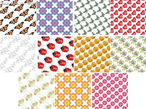nature pattern templates colorful repeating flowers insects icons