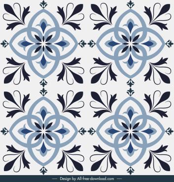 tile pattern floral sketch symmetric repeating decor