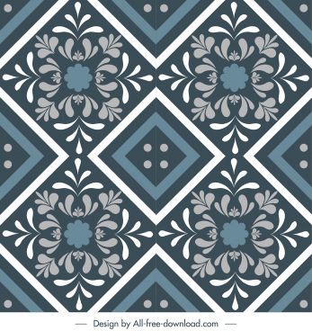 tile pattern template classic floras symmetric illusion