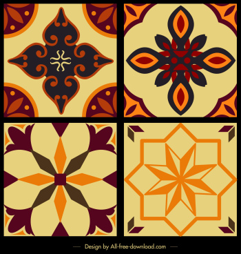 tile pattern template colorful classical symmetric flora decor