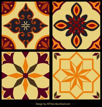 tile pattern template colorful classical symmetric flora decor