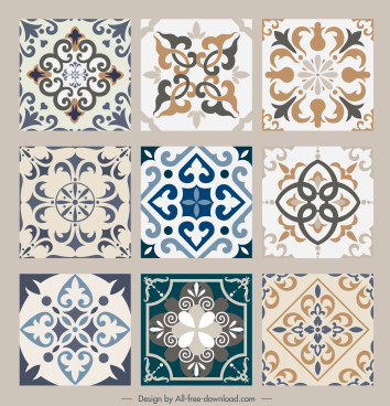 tile pattern template elegant retro symmetric shapes