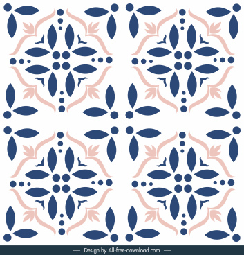 tile pattern template floral sketch symmetric classic decor