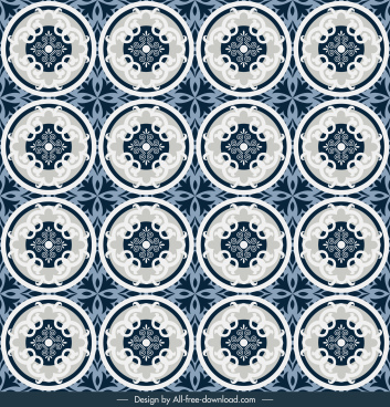 tile pattern template repeating symmetric circles decor
